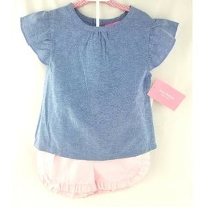 Baby Girl 2pc Outfit Chambray Top & Pink Shorts